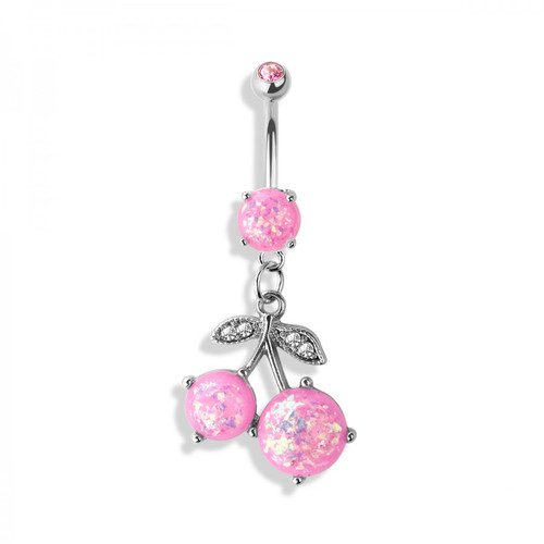 Cherry Dangle 14ga Belly Button Ring with Opalite Pink Gems