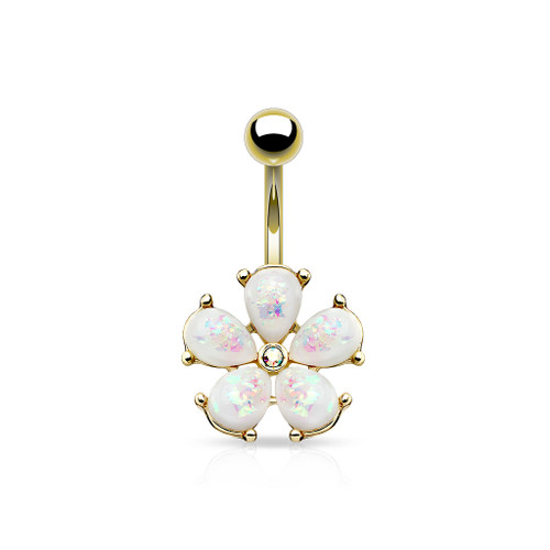 14G Flower Design Belly Button Ring with Clear Cz
