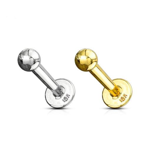 14 Kt Solid Gold Labret Monroe  16ga- 14ga Sold Each