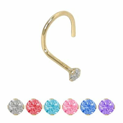 Nose Screw 14k Solid Gold with Jewel