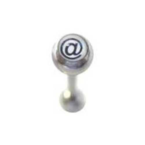 Body jewelry  316L surgical steel barbell tongue ring logo design