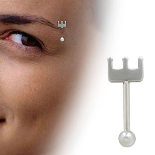 Barbell Eyebrow Ring Surgical Steel with Pitchfork Design