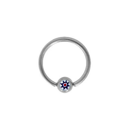 Surgical Steel Captive Bead Ring with Flower Logo Bead