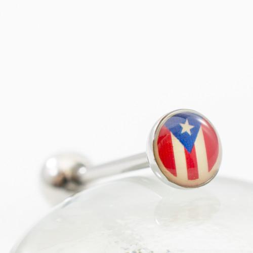 Puerto Rican Flag Tongue Barbell 14ga 316L