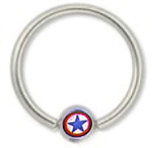 Body jewelry, 316L surgical steel Captive bead ring with Logo Replacement Bead , Captive Bead Ball Closure