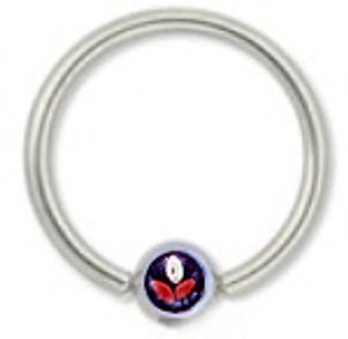 Closure Bead Hoop with Purple Flower Logo