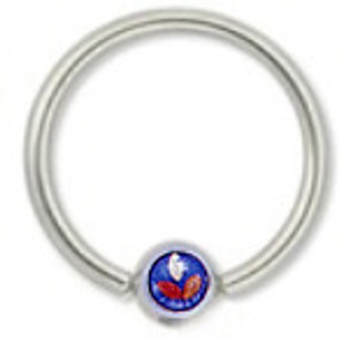 Captive Steel Bead Ring with Flower Logo