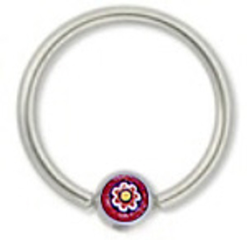 316L Surgical Steel Captive Bead Ring with Red Flower Logo Replacement Bead