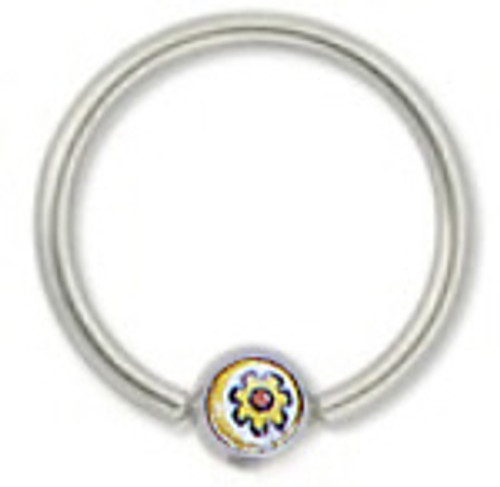 316L Surgical Steel Captive Bead Ring with Yellow Flower Logo Replacement Bead