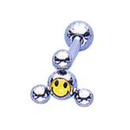 Body jewelry, 316L surgical steel shaft with smiley logo barbell tongue ring