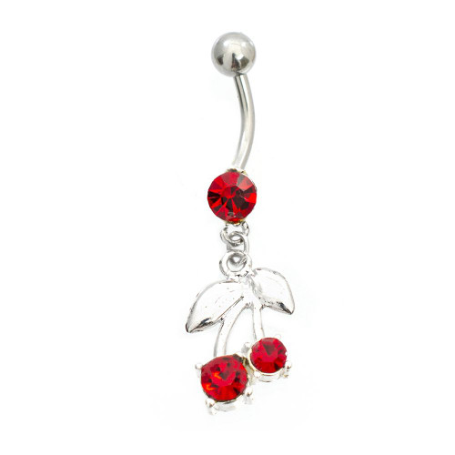 Red CZ  Cherry Dangling  Belly Button Ring 14ga Surgical Steel