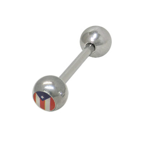 Puerto Rican Flag Barbell Tongue Ring