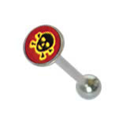Body jewelry, 316L surgical steel with flat head and Logo, Barbell Tongue ring