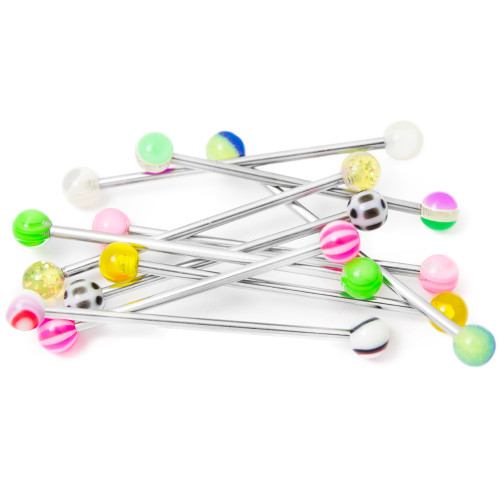"10 Industrial Barbells with Colorful Acrylic Balls - 14ga 1.25""(38 mm)"