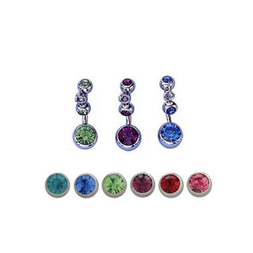 14 gauge Body Jewelry belly button ring with top dangle