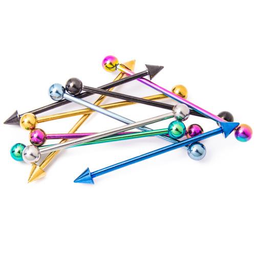 "Industrial Piercing Barbells - 10 Solid Titanium Piercing Bars - 14ga 1.5""(38mm)"