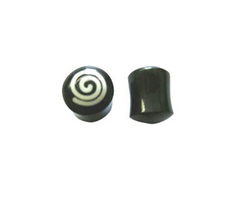 Pair of Water Buffalo Horn Ear Plug  with  Unique Logo Design (2 gauge to 000 gauge)