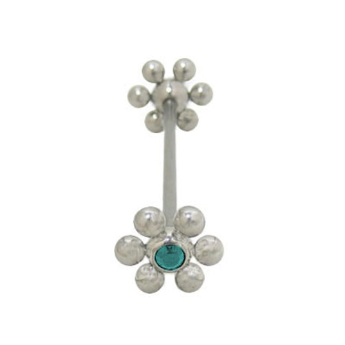 Industrial Barbell Surgical Steel Flower Design with Jewel