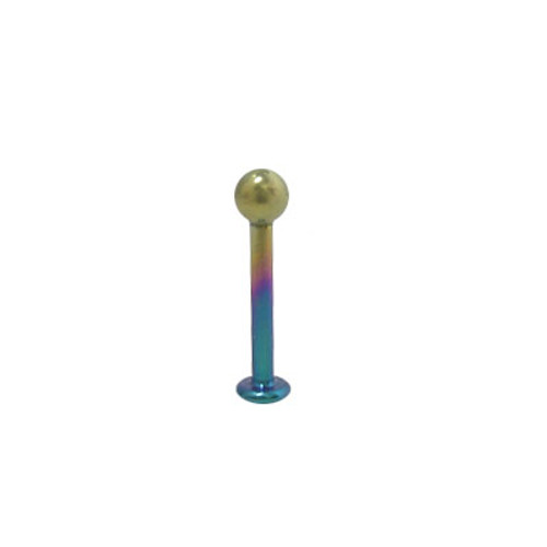 16 gauge or 18 gauge Multi Color Solid Titanium Labret Monroe with Ball