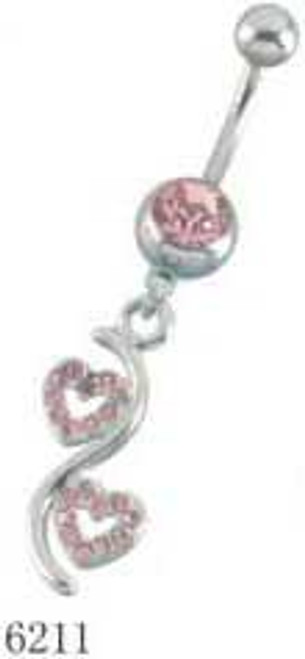 Body jewelry, 316L surgical steel with dangling design, Clear Gems/Belly button ring
