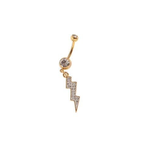 """Belly Ring Gold Plated Dangle Lightning Bolt Design 14G 7/16"""""""