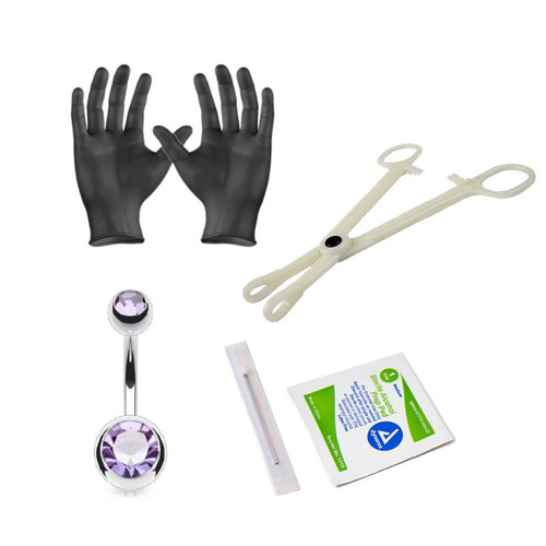 Body Piercing Kit Belly Ring 14 Gauge Clamps, Needles, Gloves And Jewelry
