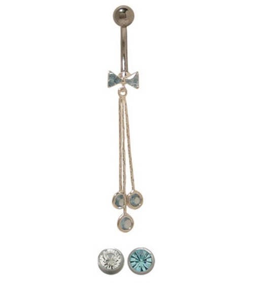Bow Tie 14 gauge Belly Button Ring with Dangling Cz Jewels