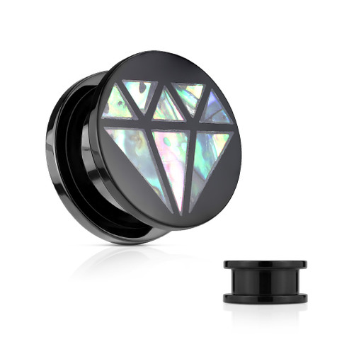 "Pair of Ear Plugs 0GA-5/8""(16mm) Acrylic Screw Fit Abalone Inlaid Diamond Front Black"