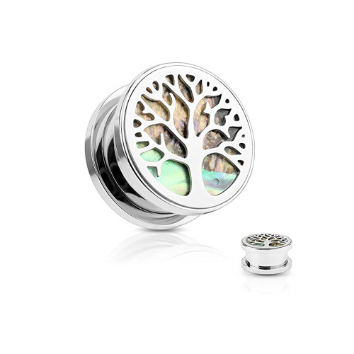 """Pair of Ear Tunnels Plugs Screw-fit (0GA - 5/8""""inch) Tree of Life Surgical Steel"""