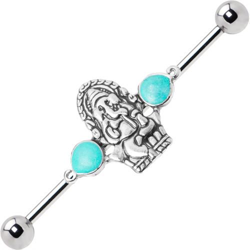 Ganesha Design Industrial 14ga Cartilage Barbell