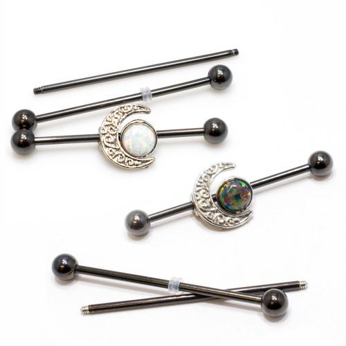 Industrial Barbell Opal and Moon Charms 14ga Cartilage Steel + 2 Extra Bars