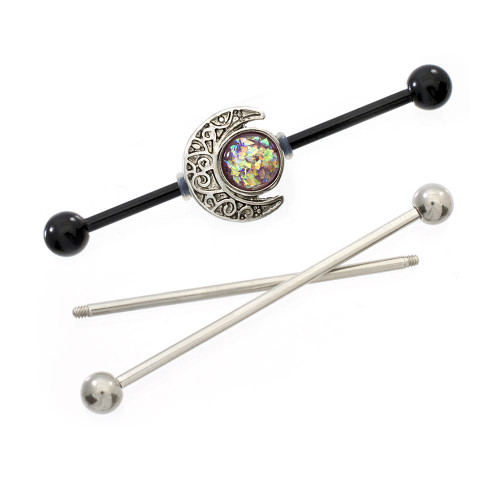 Industrial Barbell Pink Opal and Moon Charms 14ga Cartilage Steel + 2 Extra Bars