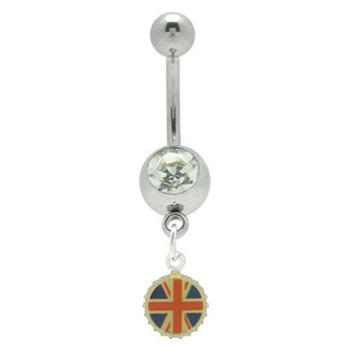 14 gauge British Flag Dangler Belly Button Ring