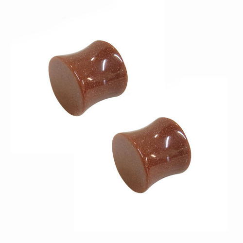 Pair of 12mm Brown Natural Stone Ear Plug with Glitter
