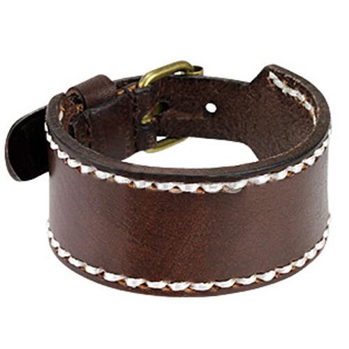 Brown Leather Stitched Border Bracelet