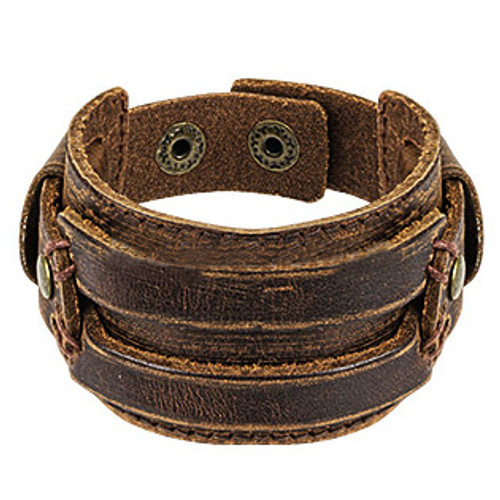 Brown Leather Stitched Rectangle Bracelet