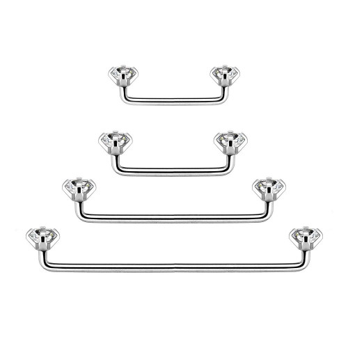 Internally Threaded Staple Surface Barbell with Prong Set Clear CZ 14ga - Out of Stock