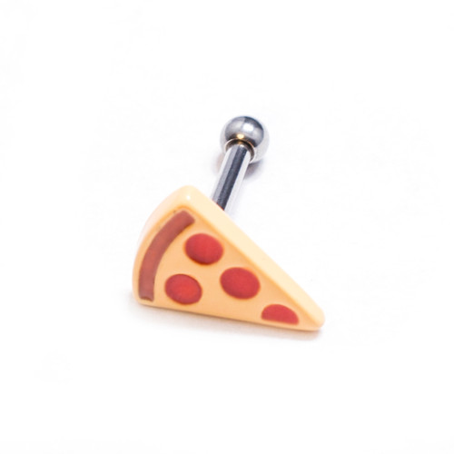 Amazing Pizza Design Cartilage Barbells Surgical Steel - Sold Each, 16 Gauge