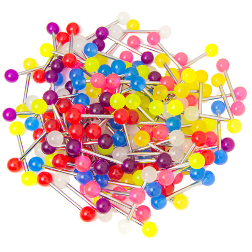 100 Mixed Glow in the dark 14ga Straight Barbell - Wholesale Pricing - Nipple and Tongue Fitment