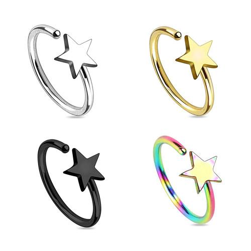 Pack of 4 Nose Hoop Rings Star Design 20G Annealed Surgical Steel