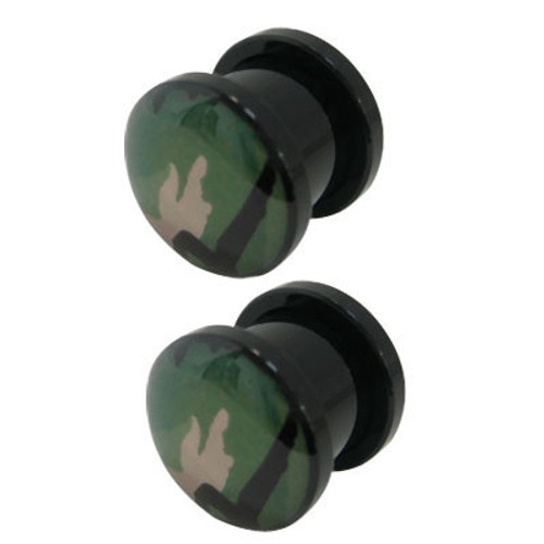 Pair of Camouflage Acrylic Screw Fit Ear Plugs