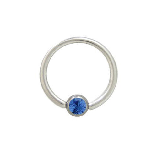 Captive Bead Ring Surgical Steel with Blue Jewel
