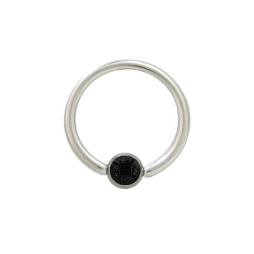 Captive Bead Ring Surgical Steel with Black Jewel