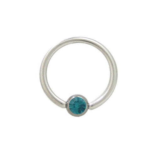 Captive Bead Ring Surgical Steel with Turquoise Jewel