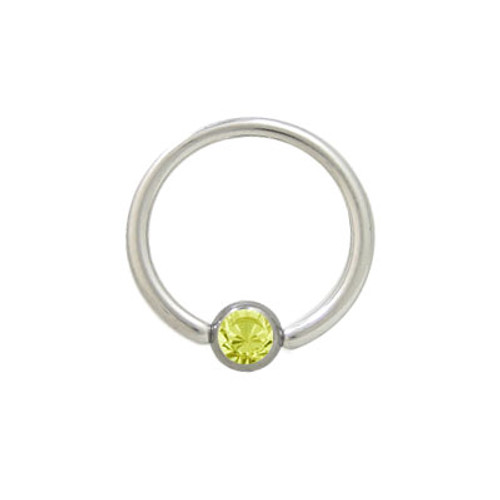 Captive Bead Ring Surgical Steel with Yellow Jewel