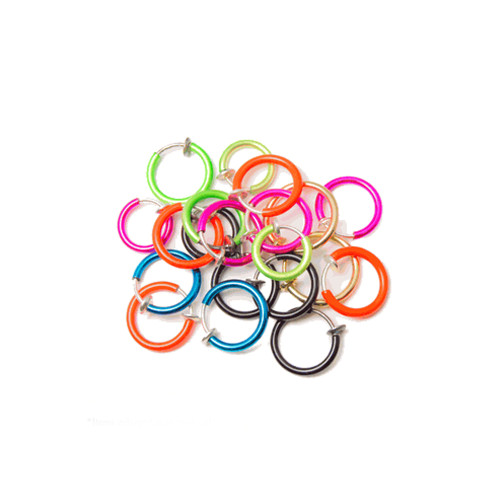 100-pack Non-piercing Fake Hoops Anodized Finish - Lip, Nose, Cartilage & Ear