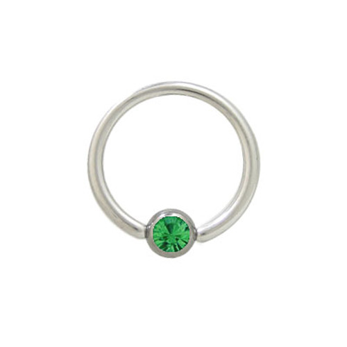 Captive Bead Ring Surgical Steel with Green Jewel