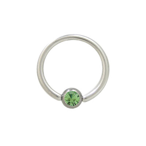 Captive Bead Ring Surgical Steel with Light Green Jewel