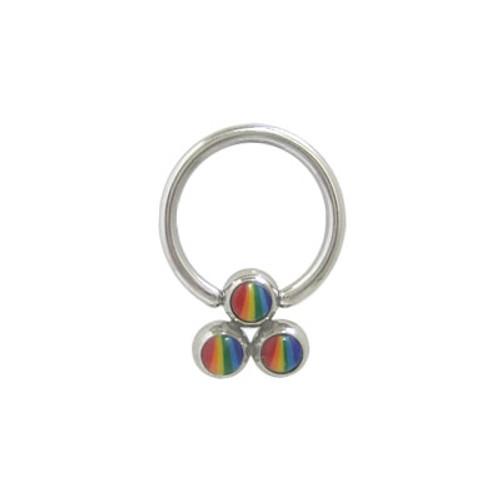 Captive Bead Ring Surgical Steel with Triple Rainbow Bead