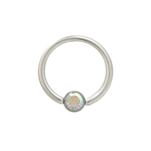 Captive Bead Ring Surgical Steel with Opal Jewel